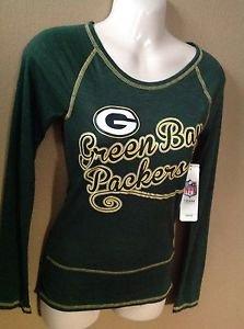 WOMEN JUNIOR XS NWT NFL GREEN BAY PACKERS METALLIC LONG SLEEVE SCOOP NECK TSHIRT