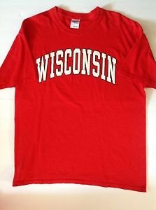 WISCONSIN BADGERS Men's Large Red Cotton T-shirt Football Basketball NCAA