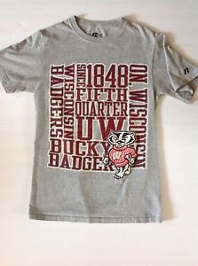 WISCONSIN BADGERS men Small Fifth Quarter Bucky Russell  Athletic Cotton T-shirt