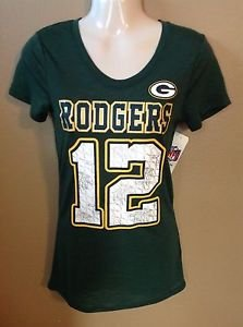 Women Junior Small Aaron Rodgers Green Bay Packers Metallic Jersey T-shirt NFL