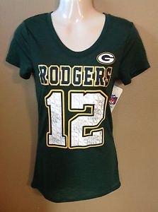 Women Junior Xs NWT Aaron Rodgers Green Bay Packers Metallic Jersey T-shirt NFL