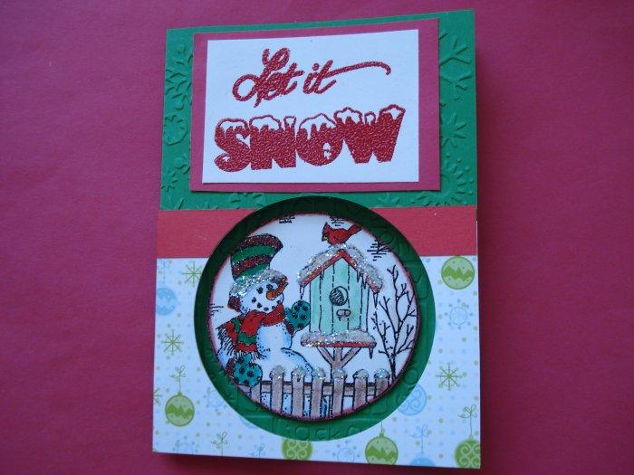 Snowman #1 Made With Cuttlebug Christmas Card