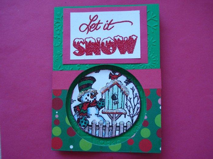 Snowman #2 Made with Cuttlebug Christmas Card