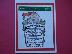 Ho Ho Ho We Love Santa Red Christmas Card
