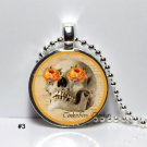 Sugar Skull Day of The Dead Dia De Los Muertos Glass dome  Pendant Necklace