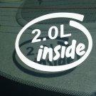 2.0L Inside Vinyl Car Window Bumper Sticker Decal Laptop 2.0 GM Ecotec LTG BMW Honda Civic