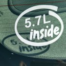 5.7L Inside Vinyl Car Window Bumper Sticker Decal Laptop 5.7 Chevrolet 350 V8 Vortec Engine