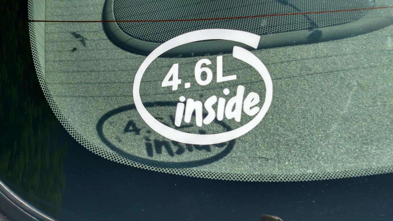 4.6L Inside Vinyl Car Window Bumper Sticker Decal Laptop 4.6 Ford Mustang V8 281