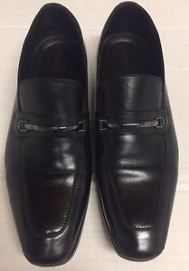 Hugo Boss Black Leather Horsebit Venetian Loafers Dress Shoes Men's 10 1/2