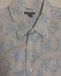 Express - Mens Button Down SHIRT L/Sleeve -White/Blue Cotton NWT XL