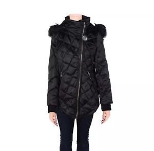 Steven By Steve Madden Womens Black Diamond Quilt Jacket Outerwear L