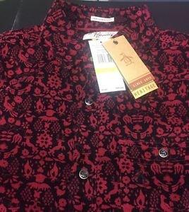 Original Penguin Printed Cord Long Sleeve Heritage Slim Fit Shirt NWT $98 Medium
