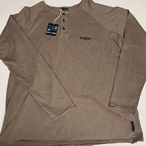 Maui & Sons -3 Button Pullover Shirt Putty/Brown Medium NWT