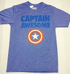 Captain Awesome - Marvel Graphic Tee Shirt  Blue - Size Medium NWT