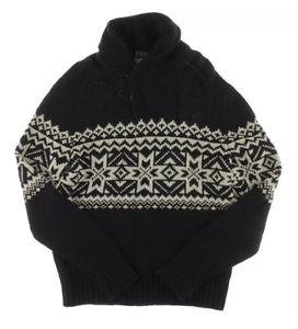 Polo Ralph Lauren Mens Black-Ivory Nordic Print Pullover Sweater M