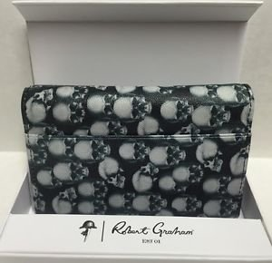 ROBERT GRAHAM Leather Skull Apple iPhone 5 5S 5SE WalletCase Credit Card ID $108