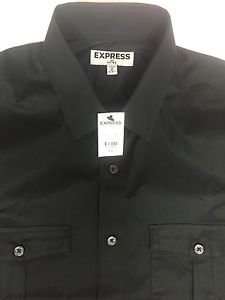 Express -  Mens Button Down Fitted Shirt  Long Sleeve - Black NWT Medium