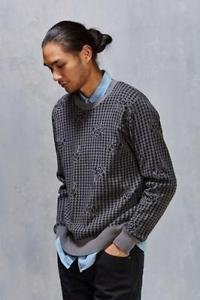 Obey- Men's Gray Loner Houndstooth Sweater Large XL Crew/Layering NWT