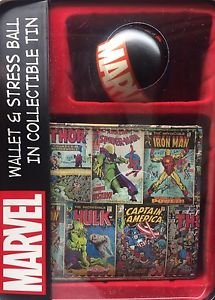 Marvel Comics:Spiderman/Hulk/Ironman/Thor/Captain A Leather Wallet & Stress Ball