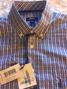 Johnnie-O (Serrano) Blue Button-Down Shirt JMWL1880 495 Size Medium NWT $125
