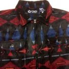 CHAPS $70 FLEECE SHIRT JACKET 1/2 ZIP MULTI PULLOVER 2 POCKET GEOMETRIC NWT L