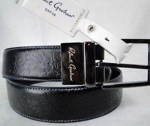 ROBERT GRAHAM - MENS Black/Brown GARRISON Reversible PAISLEY Belt 42 $128 NWT
