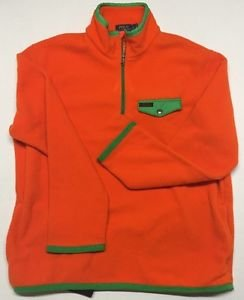 Polo Ralph Lauren Fleece Mockneck Pullover-Orange W/Green Trim-XL $145 NWT