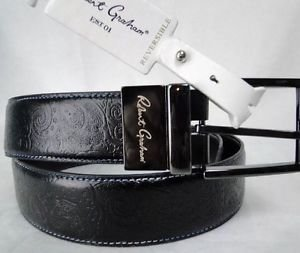 ROBERT GRAHAM - MENS Black/Brown GARRISON Reversible PAISLEY Belt 38 $128 NWT