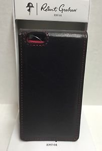 ROBERT GRAHAM Leather Black Apple iPhone 5 5S 5SE WalletCase Credit Card ID $108
