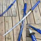 "SAMURAI SWORD KATANA HAND FORGED 41"" CARBON STEEL BLADE W/ DRAGON BLUE"