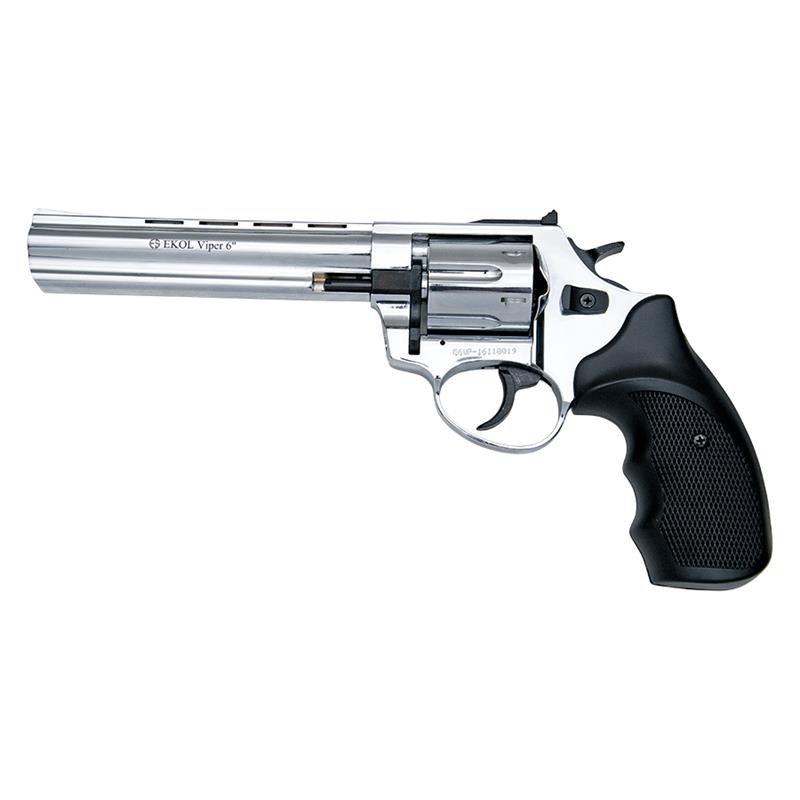 BLANK FIRING REVOLVER GUN VIPER 6 INCH BARREL 9MM  CHROME FINISH