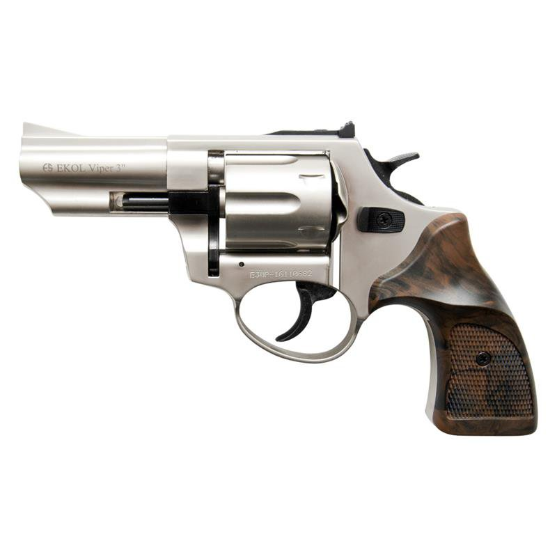 BLANK FIRING REVOLVER VIPER GUN SATIN FINISH 9MM 3 INCH BARREL