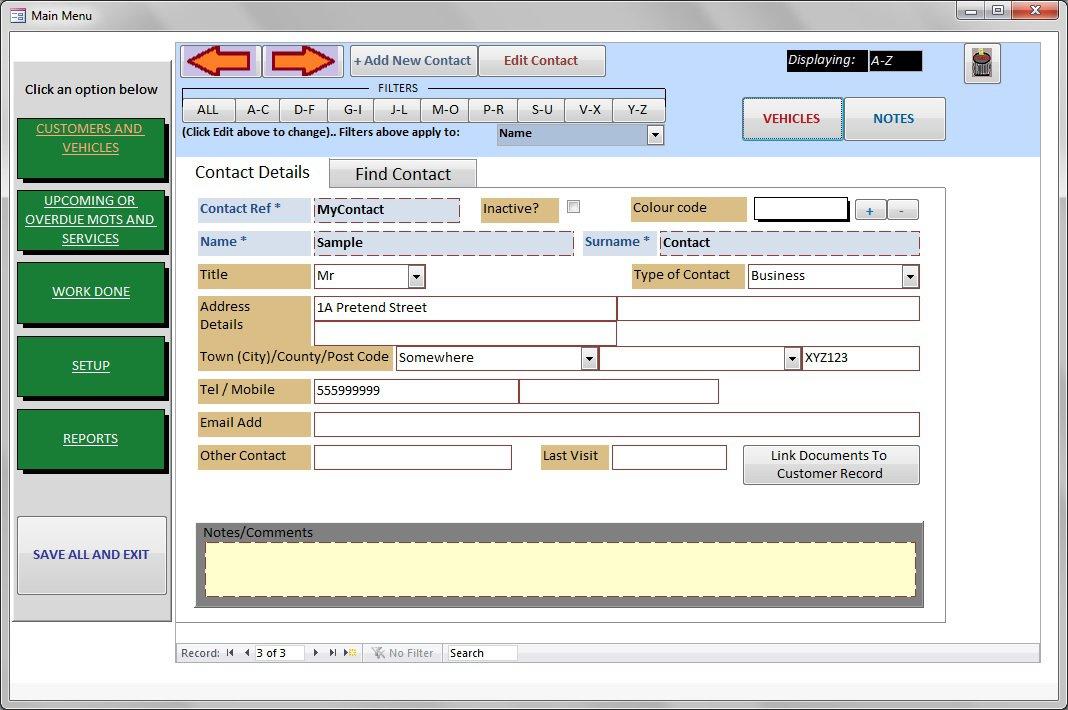Basic Garage Workshop Manager Software. Contacts, Invoicing, MOT Reminders