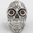 Heavy Metal Black Enamel Men's Large Skull Engagement Ring 925 Sterling Silver