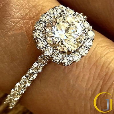 1.60 Tcw Round Cut Solitaire French Set Halo Engagement Ring In 10K White Gold
