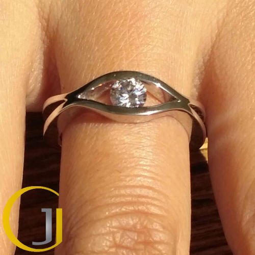 0.50 Ct Tension Set Modern Wave Solitaire Engagement Ring 10K white Gold Size 8