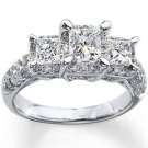 2 ct tw Elegant Sparkle Princess cut Three 3 Stone Engagement Ring In White Gold