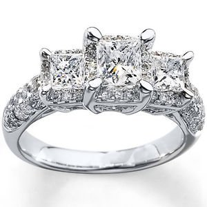 2 ct tw Elegant Sparkle Princess cut Three 3 Stone Engagement Ring In White Gold