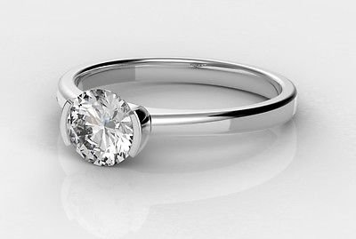 0.50 Ct Round Solitaire Half Bezel Set Engagement Ring In 10k Solid White Gold