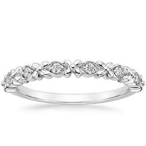 0.08 Ct Round Cut Gardenia Diamond Half Eternity Band In 10K Solid White Gold