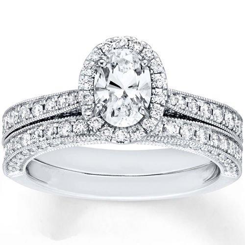 1.70 Tcw Oval Cut CZ Vintage Milgrain Engagement And Wedding Ring Set 10K W Gold