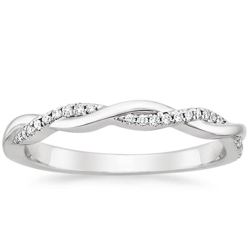 0.13 Cts G-H SI Diamond Twisted Vine Half Eternity Wedding Band 14k White Gold