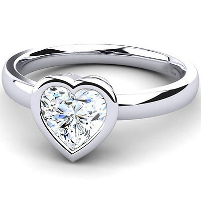 0.75 Cts Heart Shape Solitaire CZ Bezel Set Engagement Ring In 10k White Gold