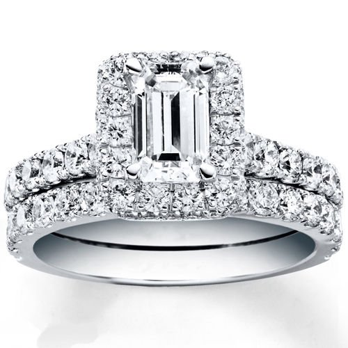 2.50 Tcw Emerald Cut Halo CZ Pave Engagement And Wedding Ring Set 14K White Gold
