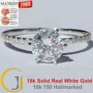 1.25 Cts Round Solitaire Six Claw Pave Engagement Ring 18k Solid Real White Gold
