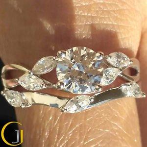 1.25 Ct Nature Inspired Round Bridal Engagement Wedding Ring Set 14k White Gold
