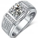 1.20 Tcw Round Cut Claw Set Solitaire Men's Engagement Ring 10K Solid White Gold