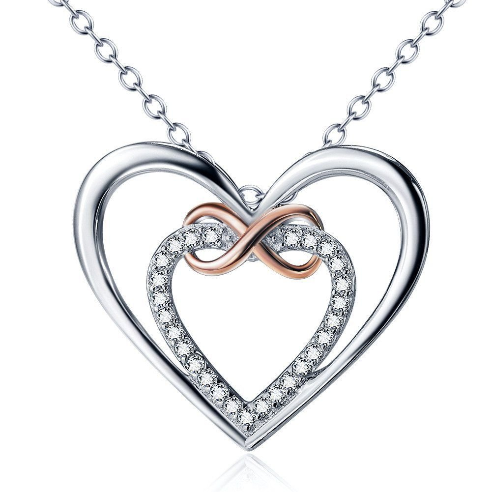 0.11 Ct G-H SI Diamond Infinity Double Hearts Pendant Two Tone 14K White Gold