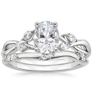 1.25 Ct Nature Inspired Oval Bridal Engagement Wedding Ring Set 14k White Gold