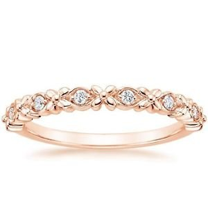 0.08 Ct Round Cut Gardenia Diamond Half Eternity Band In 10K Solid Rose Gold